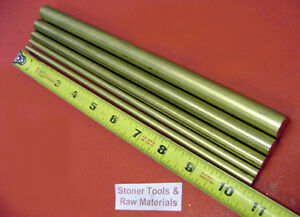 5 Pieces 1 4 3 8 1 2 5 8 360 Brass Solid Round Rod 10 5 Long New Bar Stock