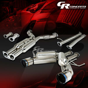 4 5 Dual Muffler Burnt Tip H pipe Catback Exhaust System For 03 09 Nissan 350z