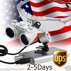 Dental Surgical Binocular Loupes Optical Glass Loupe 3 5x420mm led Headlight Usa