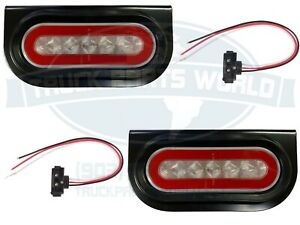 6 Oval S t t Red Led Truck Trailer Brake Light W Clear Lens And Mounting Kit