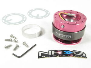 Nrg Steering Wheel Quick Release Kit Gen 2 0 Pink Body W Titanium Chrome Ring