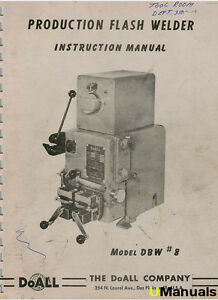 Doall Flash Welder Model Dbw 8 Instruction Manual