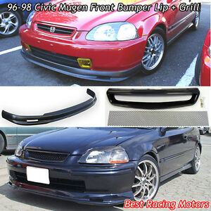 Mu Gen Style Front Bumper Lip Tr Style Grill Mesh Fit 96 98 Honda Civic 2dr