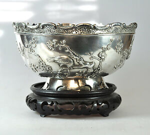 576 Gr Antique Chinese Export Solid Silver Prunus Rose Bowl Wang Hing China 1900