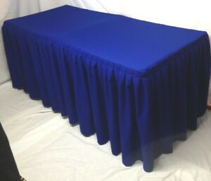 4 Ft Fitted Polyester Double Pleated Table Skirt Cover W top Topper Royal Blue