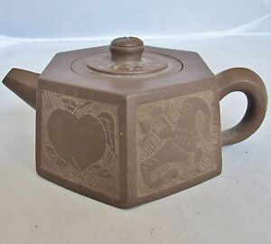 5 4 Chinese Yixing Zisha Purple Clay Hexagon Shape Teapot With Bats