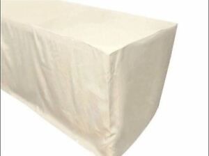 6 Ft Fitted Polyester Tablecloth Trade Show Booth Banquet Dj Table Cover Ivory