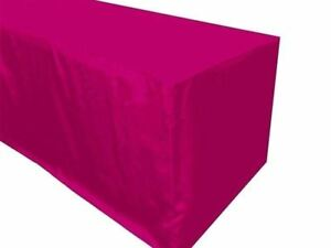 8 Ft Fitted Polyester Table Cover Trade Show Booth Party Tablecloth Hot Pink