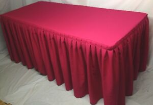 4 Fitted Polyester Double Pleated Table Skirt Cover W top Topper Hot Pink
