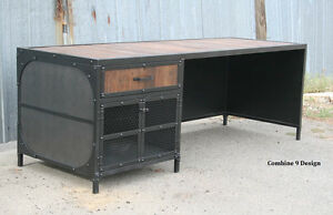 Vintage Industrial Desk steel And Reclaimed Wood Modern Urban Custom