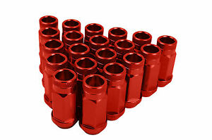20 Red Aluminum Forged Racing Lug Nuts 12x1 5 M12x1 5 Thread Pitch Conical Seat