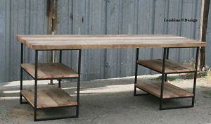 Desk Made Of Steel And Reclaimed Wood Shelving storage Industrial Urban