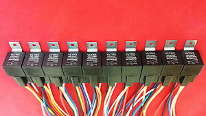 Qty40 Relays 40 Interlocking 5 Pin Sockets 12v Dc 30 40a Waterproof Spdt