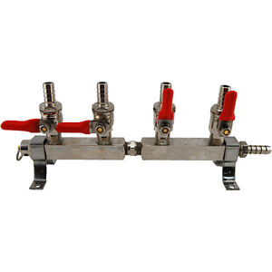 4 Way Co2 Distribution Bar With Safety Draft Beer Kegerator Keg Co2 Air Parts