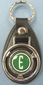 Vintage Green 1960 Edsel E Ford Mini Steering Wheel Leather Keyring Key Fob