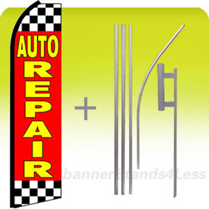 Auto Repair Swooper Flag Kit Feather Flutter Banner Sign 15 Tall Checkered Rz