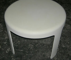 Vintage Mid Century Round White Fiberglass End Side Table Panton Yanagi Era