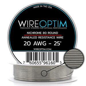 20 Gauge Awg Nichrome 80 Wire 25 Length N80 Wire 20g Ga 0 81 Mm 25 Ft