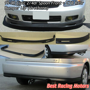 Spn Style Front Ctr Rear Bumper Lip Urethane Fit 99 00 Civic 4dr