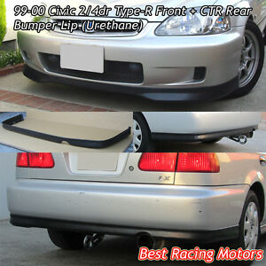 Tr Style Front Ctr Rear Bumper Lip Urethane Fit 99 00 Civic 4dr