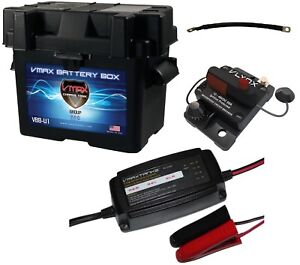 Marine Battery Box Kit U1 Box Smart Charger 9 Cable Circuit Breaker