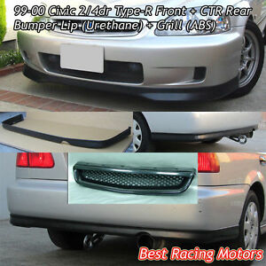 Tr Style Front Lip Pu Ctr Rear Lip Pu Grill Abs Fit 99 00 Civic 2dr