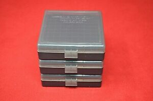 9mm  380 PLASTIC STORAGE AMMO BOXES SMOKE (3 pack) BERRY'S MFG.