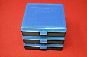 45 ACP  40 CAL  10MM PLASTIC STORAGE AMMO BOXES BLUE (3 PACK)
