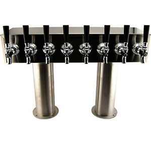 3 Pedestal H Towers Stainless Steel 8 Faucets Draft Beer Commercial Bar