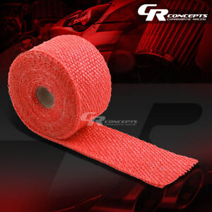 15ft 180 L 2 W Header Manifold Exhaust Turbo Down Piping Red Heat Wrap Tape