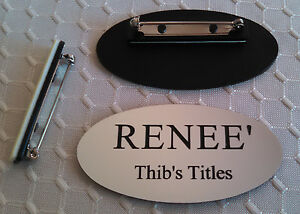Custom Oval Name Badges Silver Black Letters W Pin Attachment 1 25 X 2 5