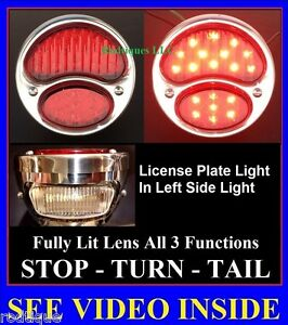 Led Stainless Steel Taillights W License Plate Light Hot Rod Rat Rod Universal