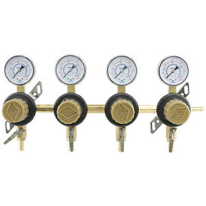 4 way Secondary Air Regulator Polycarbonate Bonnet Co2 To 4 Draft Beer Kegs