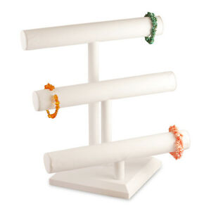 White Leather 3 Tier T bar Bracelet Jewerly Display Stand Holder