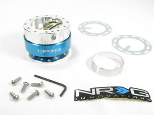 Nrg Steering Wheel Quick Release Kit Gen 1 0 Silver Body W Blue Ring Srk 100b