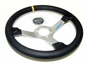 Sparco Steering Wheel L550 Monza 350mm 63mm Dish Leather Silver
