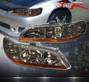 1998 2002 Honda Accord Coupe sedan Smoked Lens Headlights Amber Reflector Pair