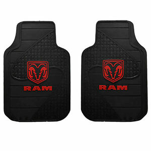 2pc Dodge Ram Head Logo Car Truck Suv Van Black Rubber Floor Mats Made In Usa