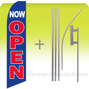 Now Open Swooper Flag Kit Feather Flutter Banner Sign 15 Tall Bb