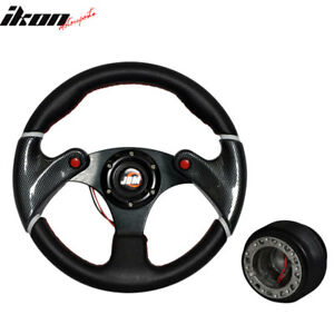 Black Pvc Leather Racing Steering Wheel 320mm W red Stitch hub Adapter Jdm Horn