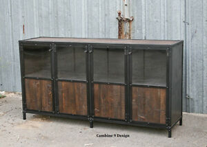 Vintage Industrial Display Case Retail Fixture Urban modern Reclaimed Wood