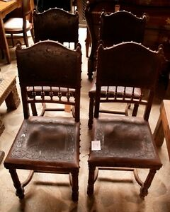 4 Antique Spanish Chair Renaissance Style Leather Embossed Walnut See Inside