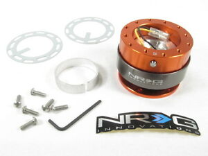 Nrg Steering Wheel Quick Release Kit Gen 2 0 Orange Body W Titanium Chrome Ring