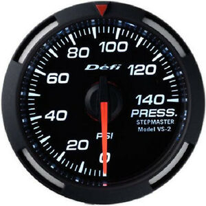 Defi Racer Oil Fuel Pressure Gauge 0 To 140psi 52mm W White Led Df06603 New