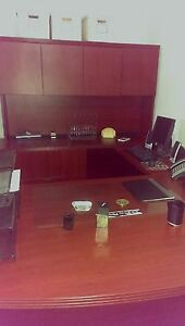 6 Piece U shaped Cherry Oak Modern Executive Office Desk In Excellent Condition