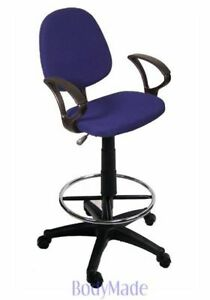 New Blue Fabric Office Drafting Chair Stool With Arms