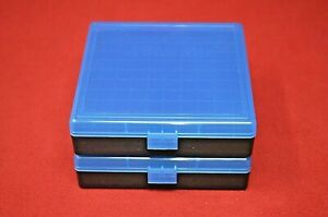(2-pack) 45 ACP  40 CAL 10MM PLASTIC STORAGE AMMO BOXES (BLUE COLOR) BERRY MFG
