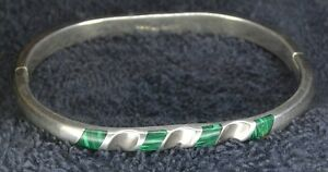 Sterling Silver Scrap Not 29 Grams Green Malachite Narrow Hinged Cuff Bracelet