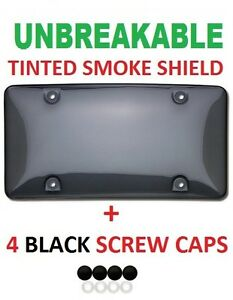 Universal Tinted Unbreakable License Plate Shield Cover 4 Black Screw Caps