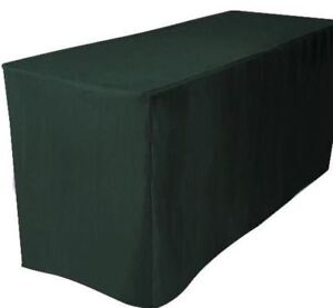 6 Ft Fitted Polyester Table Cover Trade Show Booth Dj Tablecloth Hunter Green